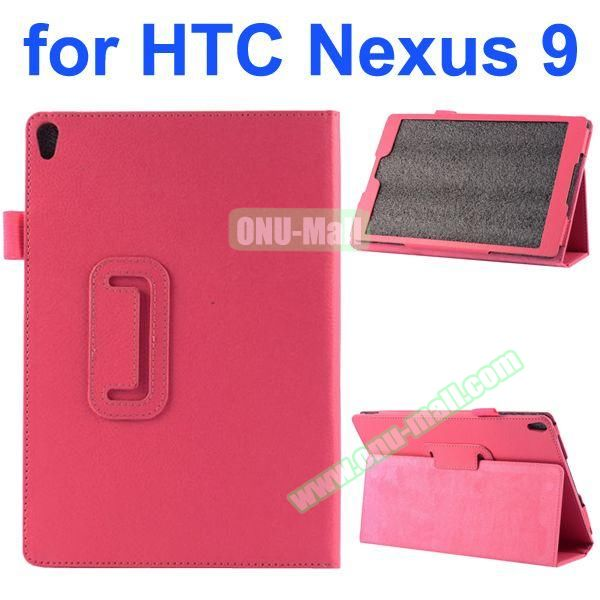 Litchi Texture Flip Stand PU Leather Case for HTC Nexus 9 (Rose)