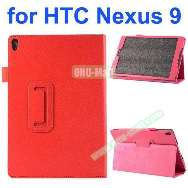 Litchi Texture Flip Stand PU Leather Case for HTC Nexus 9 (Red)