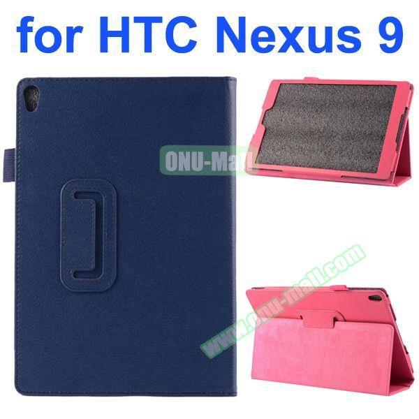 Litchi Texture Flip Stand PU Leather Case for HTC Nexus 9 (Dark Blue)