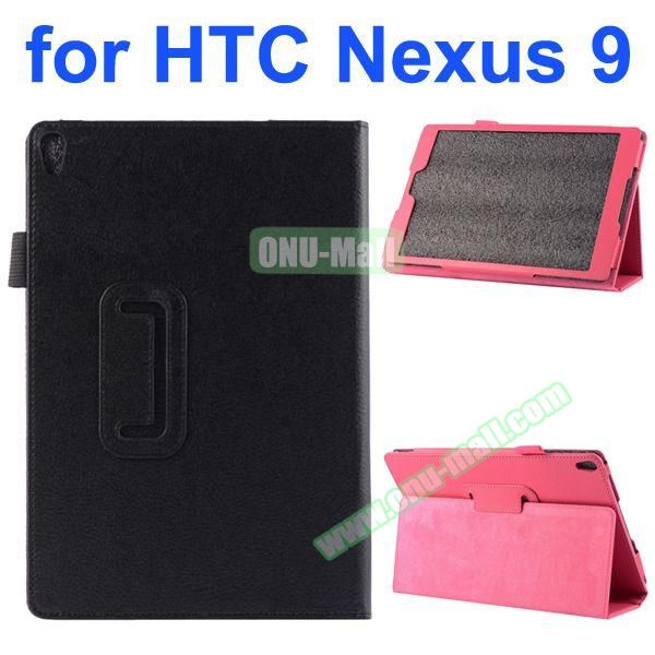 Litchi Texture Flip Stand PU Leather Case for HTC Nexus 9 (Black)