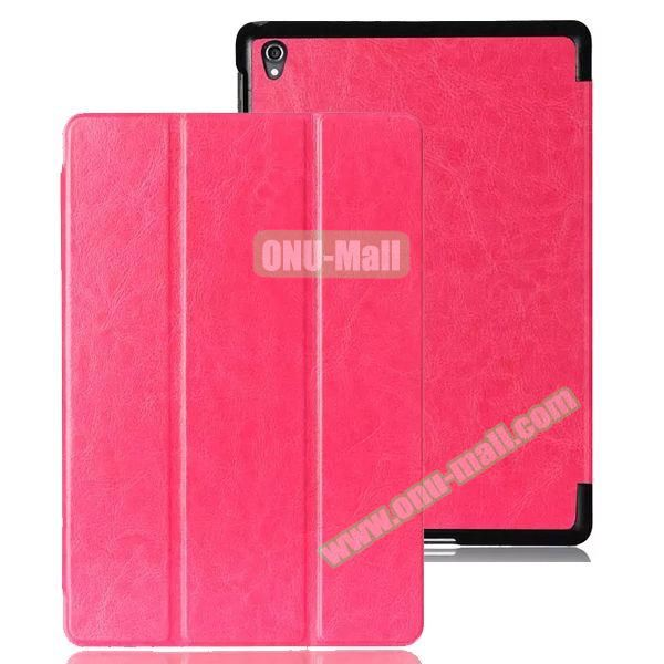 Crazy Horse Texture 3 Folding Leather Case for Google Nexus 9 (Pink)