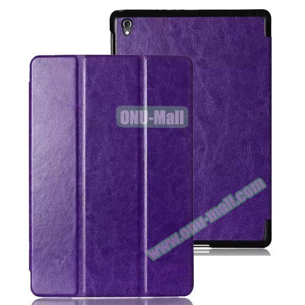 Crazy Horse Texture 3 Folding Leather Case for Google Nexus 9 (Purple)