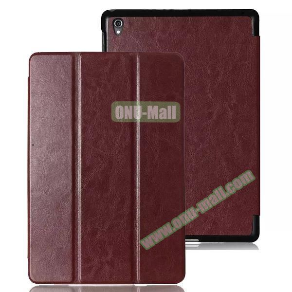 Crazy Horse Texture 3 Folding Leather Case for Google Nexus 9 (Brown)