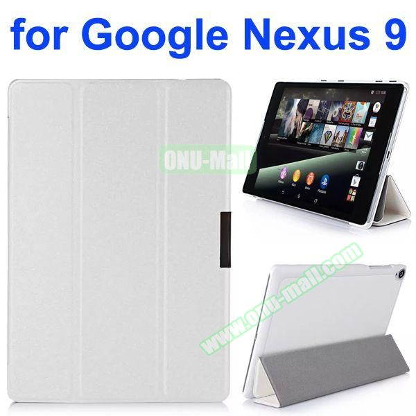 Silk Texture 3 Folding Leather Case for Google Nexus 9 (White)