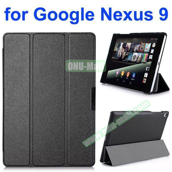 Silk Texture 3 Folding Leather Case for Google Nexus 9 (Black)