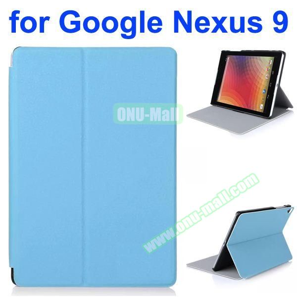 Litchi Texture Multi-Gear Soft Frosted Leather Case for Google Nexus 9 (Blue)