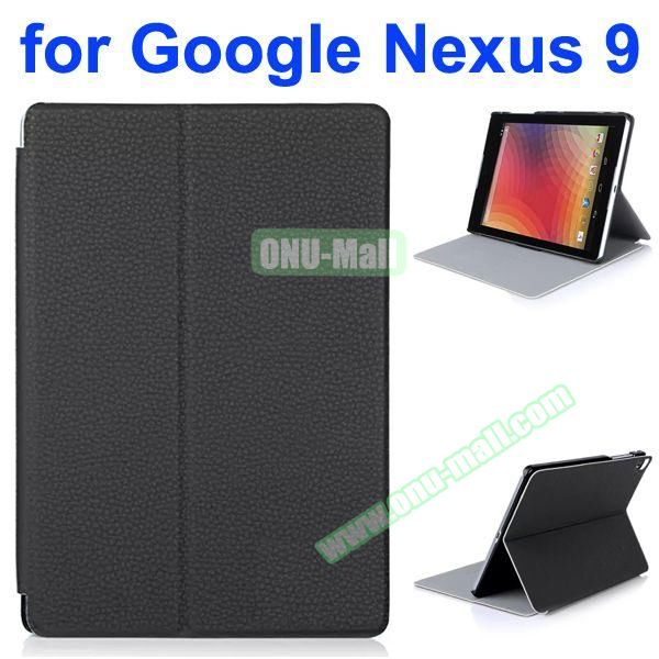 Litchi Texture Multi-Gear Soft Frosted Leather Case for Google Nexus 9 (Black)