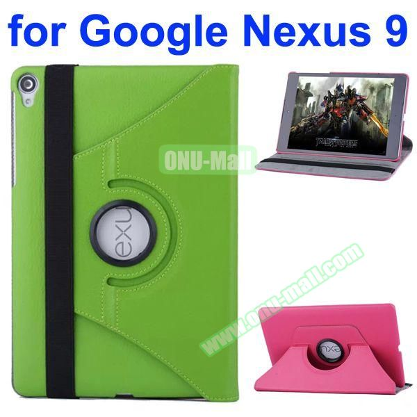 Smooth Texture 360 Degree Rotation Leather Case for Google Nexus 9 with Belt (Green)