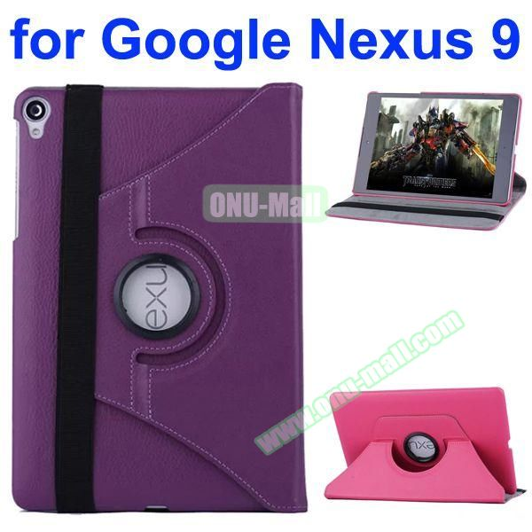 Smooth Texture 360 Degree Rotation Leather Case for Google Nexus 9 with Belt (Purple)