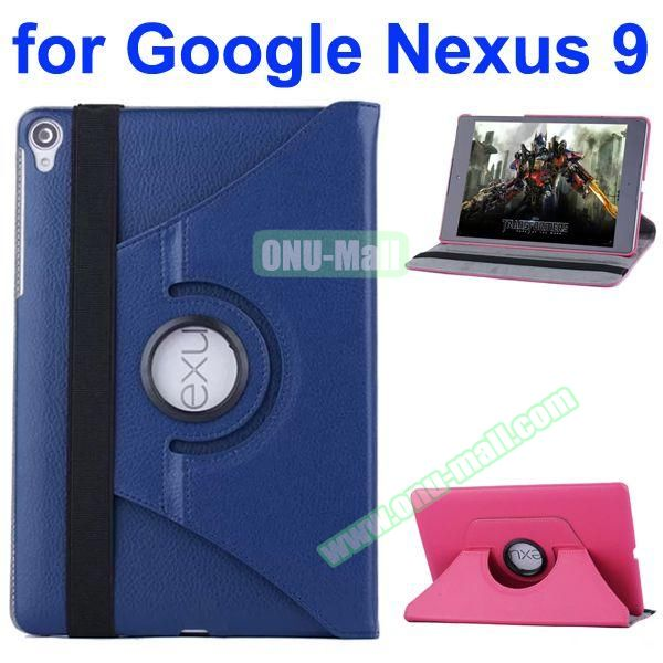 Smooth Texture 360 Degree Rotation Leather Case for Google Nexus 9 with Belt (Dark Blue)