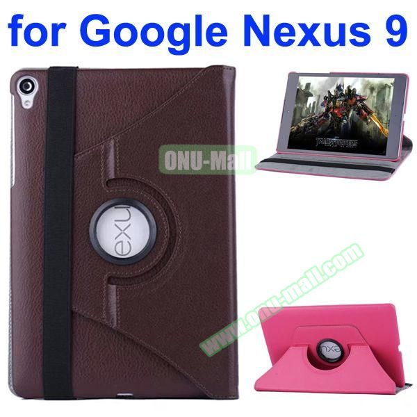 Smooth Texture 360 Degree Rotation Leather Case for Google Nexus 9 with Belt (Coffee)