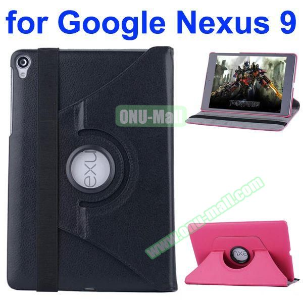 Smooth Texture 360 Degree Rotation Leather Case for Google Nexus 9 with Belt (Black)