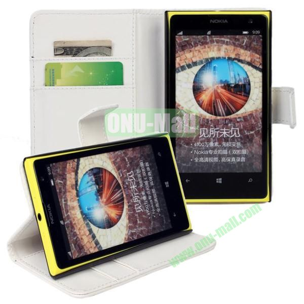 Smooth Texture Wallet Pattern Leather Case for Nokia Lumia 1020 with Card Slots and Stand (White)