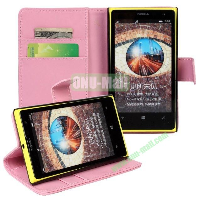 Smooth Texture Wallet Pattern Leather Case for Nokia Lumia 1020 with Card Slots and Stand (Pink)