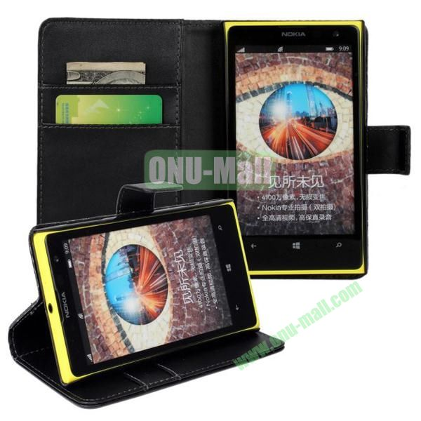 Smooth Texture Wallet Pattern Leather Case for Nokia Lumia 1020 with Card Slots and Stand (Black)