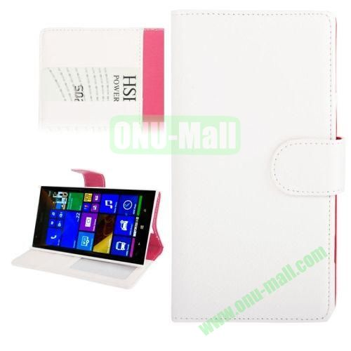 Litchi Texture Leather Case for Nokia Lumia 1520 with Card Slots and Holder (White)