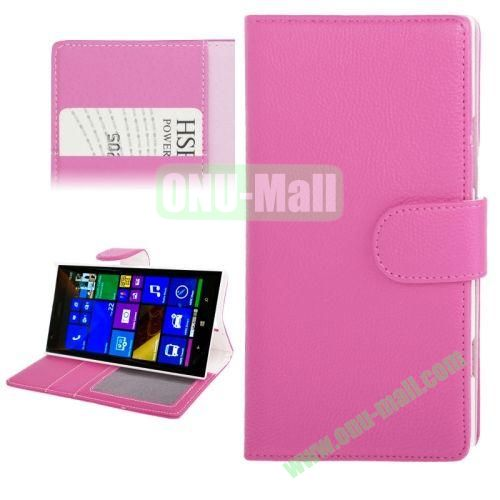 Litchi Texture Leather Case for Nokia Lumia 1520 with Card Slots and Holder (Rose)