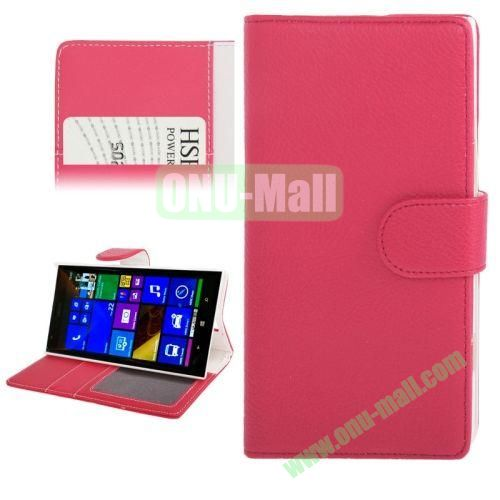 Litchi Texture Leather Case for Nokia Lumia 1520 with Card Slots and Holder (Red)