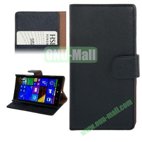 Litchi Texture Leather Case for Nokia Lumia 1520 with Card Slots and Holder (Black)