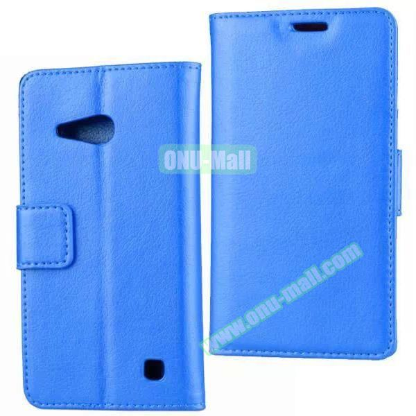 Litchi Texture Wallet Flip Leather Case for Nokia Lumia 730 (Blue)