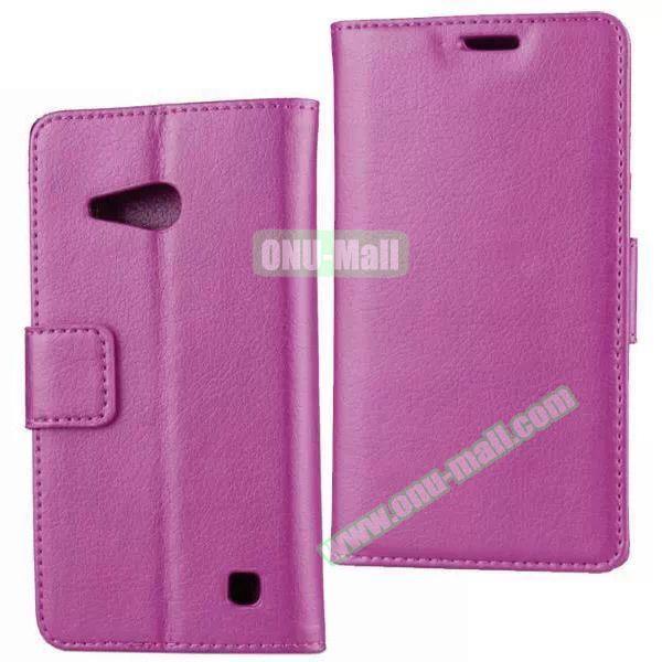 Litchi Texture Wallet Flip Leather Case for Nokia Lumia 730 (Purple)