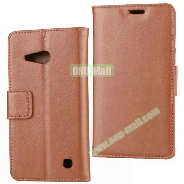 Litchi Texture Wallet Flip Leather Case for Nokia Lumia 730 (Brown)
