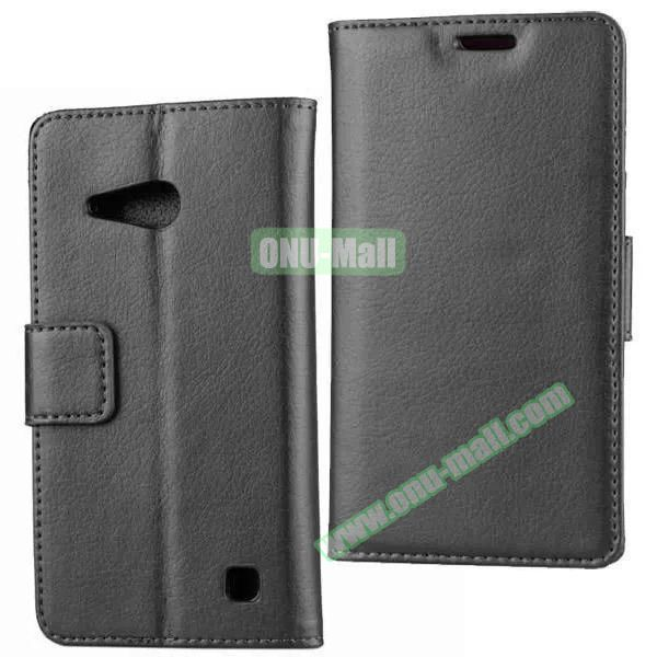 Litchi Texture Wallet Flip Leather Case for Nokia Lumia 730 (Black)