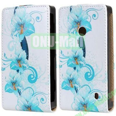 Blue Flowers Pattern Vertical Flip Leather Case for Nokia Lumia 520