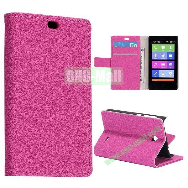 Gravel Pattern Wallet Flip Stand Leather Case with Card Slots and Magnetic for Nokia X (Rose)