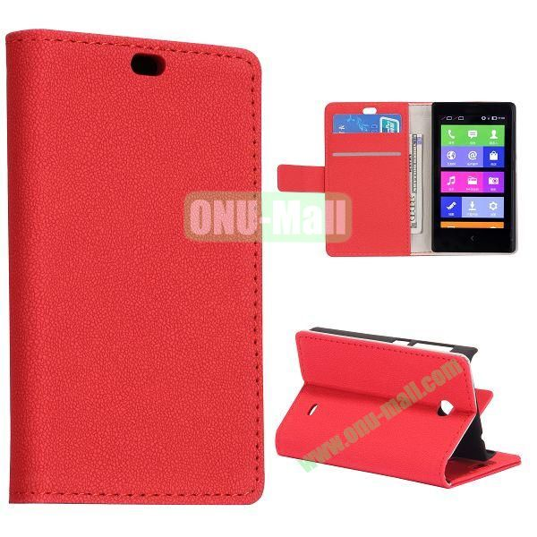 Gravel Pattern Wallet Flip Stand Leather Case with Card Slots and Magnetic for Nokia X (Red)
