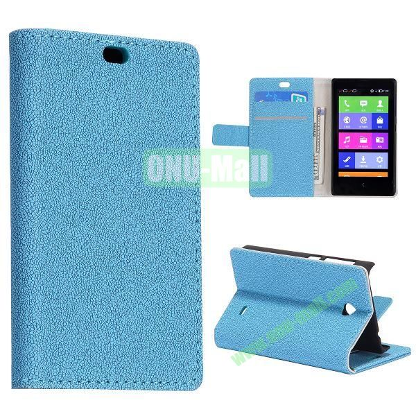 Gravel Pattern Wallet Flip Stand Leather Case with Card Slots and Magnetic for Nokia X (Blue)