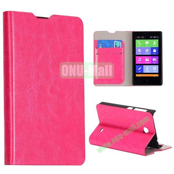 Crazy Horse Texture Wallet Style Flip Stand Leather Case with Card Slots for Nokia X (Rose)