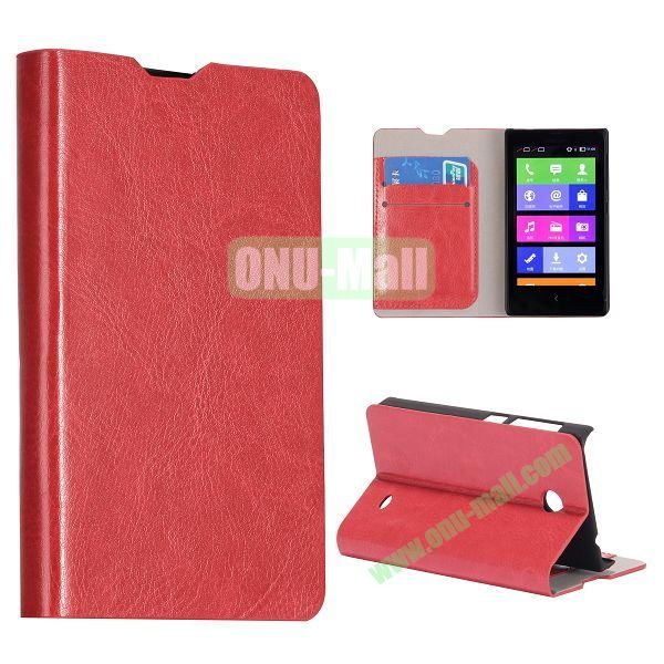 Crazy Horse Texture Wallet Style Flip Stand Leather Case with Card Slots for Nokia X (Red)
