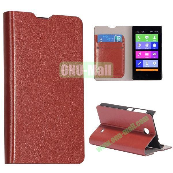Crazy Horse Texture Wallet Style Flip Stand Leather Case with Card Slots for Nokia X (Brown)