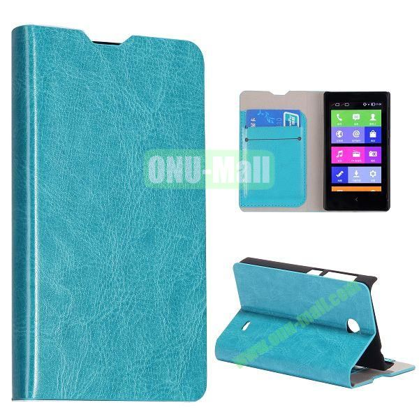 Crazy Horse Texture Wallet Style Flip Stand Leather Case with Card Slots for Nokia X (Blue)