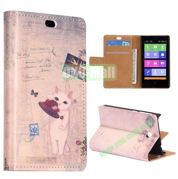 UK Flag and Cat Pattern Flip Stand Leather Case for Nokia X with Card Slots with Magnetic