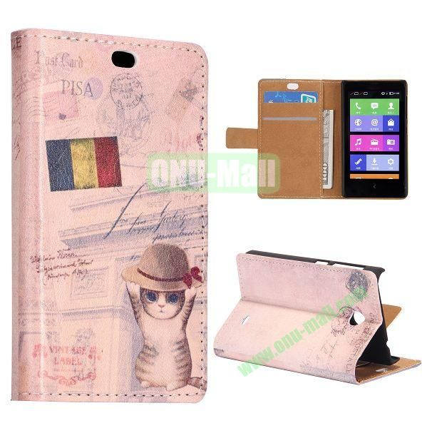 Retro Flag and Cat Pattern Flip Stand Leather Case for Nokia X with Card Slots with Magnetic