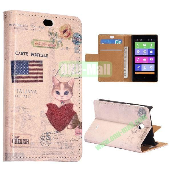 USA Flag and Cat Pattern Flip Stand Leather Case for Nokia X with Card Slots with Magnetic