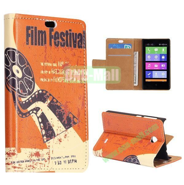 Film Festival Pattern Flip Stand Leather Case for Nokia X with Card Slots with Magnetic
