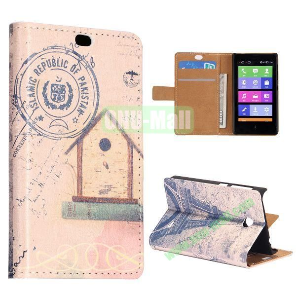 Postcard and Eiffel Tower Pattern Flip Stand Leather Case for Nokia X with Card Slots with Magnetic