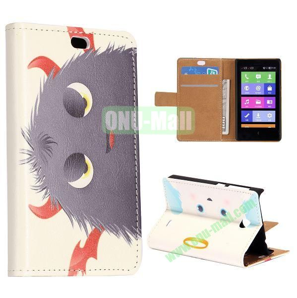 Black Cartoon Ball Pattern Flip Stand Leather Case for Nokia X with Card Slots with Magnetic
