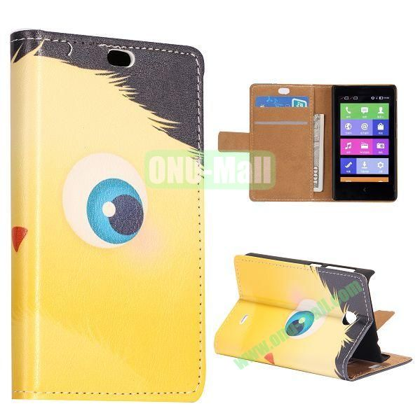 Yellow Cartoon Ball Pattern Flip Stand Leather Case for Nokia X with Card Slots with Magnetic