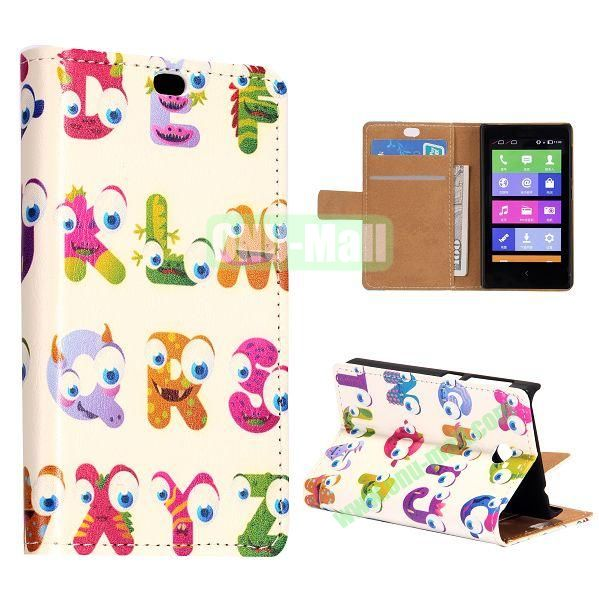 Cartoon Letters Pattern Flip Stand Leather Case for Nokia X with Card Slots with Magnetic