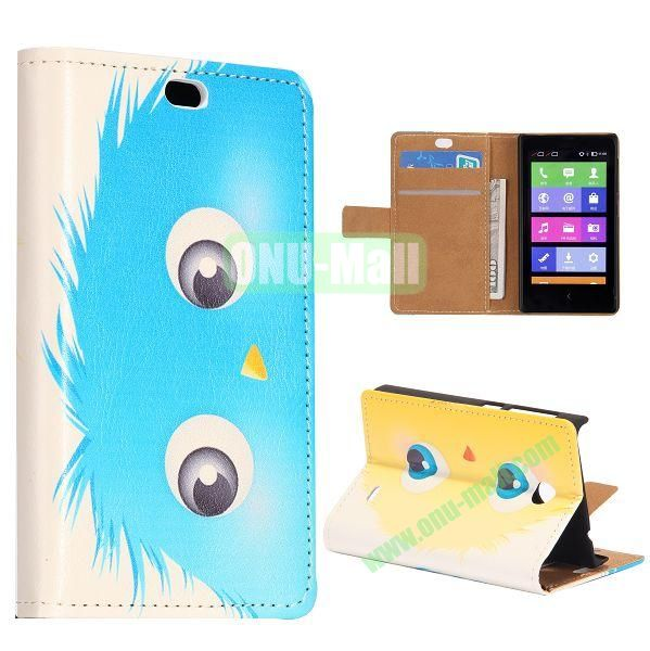 Blue Cartoon Ball Pattern Flip Stand Leather Case for Nokia X with Card Slots with Magnetic