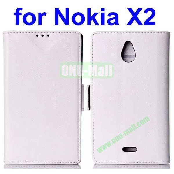 Crazy Horse Texture Flip Leather Case for Nokia X2 (White)