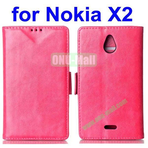 Crazy Horse Texture Flip Leather Case for Nokia X2 (Rose)
