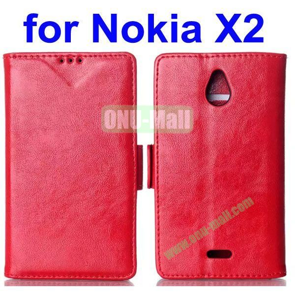 Crazy Horse Texture Flip Leather Case for Nokia X2 (Red)