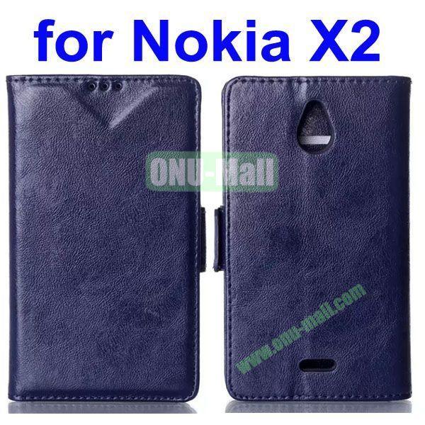 Crazy Horse Texture Flip Leather Case for Nokia X2 (Dark Blue)