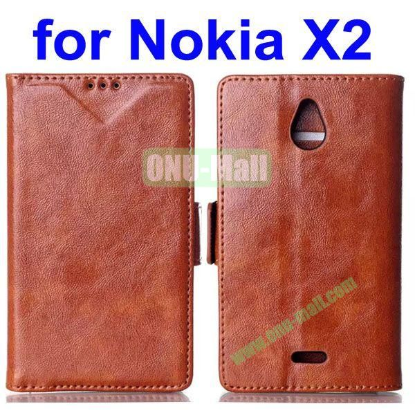 Crazy Horse Texture Flip Leather Case for Nokia X2 (Brown)