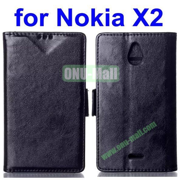 Crazy Horse Texture Flip Leather Case for Nokia X2 (Black)